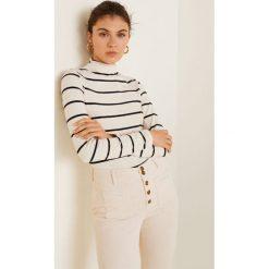 Mango - Bluzka Olivia. Szare bluzki damskie Mango, z bawełny, casualowe, z golfem. Za 79.90 zł.