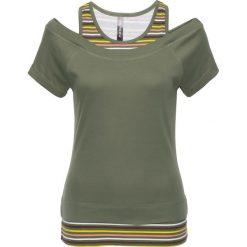 T-shirt 2 w 1 bonprix oliwkowy w paski. T-shirty damskie marki DOMYOS. Za 54.99 zł.
