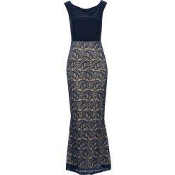 Sukienka wieczorowa z koronką bonprix ciemnoniebieski. Sukienki damskie bonprix, w koronkowe wzory, z koronki, wizytowe. Za 109.99 zł.
