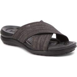 Klapki CROCS - Capri Shimmer Xband 204908 Black/Black. Czarne klapki damskie Crocs, z materiału. W wyprzedaży za 159.00 zł.