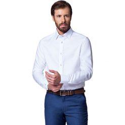 Koszula Biała Almeria Slim. Białe koszule męskie LANCERTO, w kolorowe wzory, z bawełny, z kontrastowym kołnierzykiem. Za 299.90 zł.