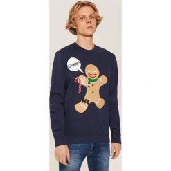 Bluza ze świąteczną aplikacją - Granatowy. Niebieskie bluzy męskie House, z aplikacjami. Za 89.99 zł.