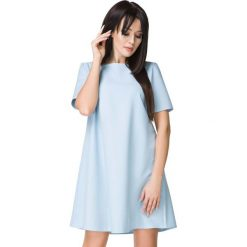 Błękitna Sukienka o Kształcie litery A. Niebieskie sukienki damskie Molly.pl, w jednolite wzory, z tkaniny, wizytowe, z dekoltem w łódkę, z krótkim rękawem. Za 159.00 zł.