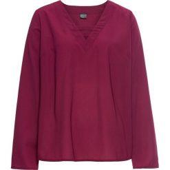Bluzka bonprix jeżynowy. Fioletowe bluzki damskie bonprix, w paski, z dekoltem w serek, z długim rękawem. Za 74.99 zł.