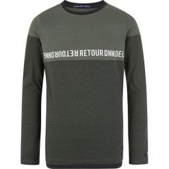 Koszulka w kolorze zielonym. Zielone t-shirty dla chłopców marki Retour denim de Luxe, z nadrukiem, z bawełny, z długim rękawem. W wyprzedaży za 82.95 zł.