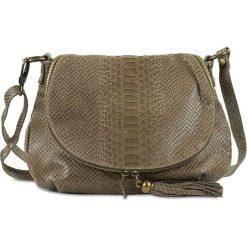 """Skórzana torebka """"Maelie"""" w kolorze szarobrązowym - 29 x 24 x 8 cm. Brązowe torby na ramię damskie Spéciale Maroquinerie. W wyprzedaży za 151.95 zł."""