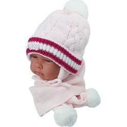 Czapka niemowlęca z szalikiem CZ+S 002E różowa. Czapki dla dzieci marki Reserved. Za 38.76 zł.