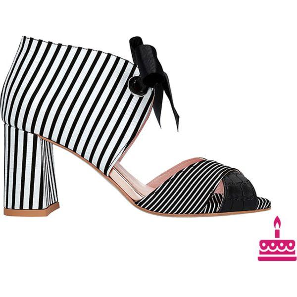 2ab5691dbd2577 Skórzane sandały w kolorze czarno-białym - Białe sandały damskie L37 ...
