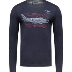 T-shirt AERONAUTICA MILITARE Granatowy. Bluzki z długim rękawem męskie Aeronautica Militare, moro, z włoskim kołnierzykiem. Za 260.00 zł.