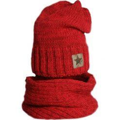 Czapka z kominkiem dla ocieplana Cz+K 156E. Czerwone czapki dla dzieci Proman. Za 58.80 zł.