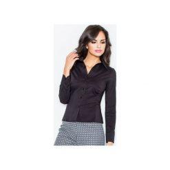Koszula M021 Czarny. Czarne koszule damskie Figl, z bawełny, klasyczne, z klasycznym kołnierzykiem, z długim rękawem. Za 73.00 zł.