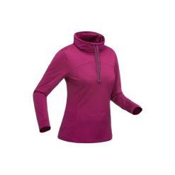 Koszulka turystyczna długi rękaw SH100 warm damska. Fioletowe t-shirty damskie QUECHUA, ze stójką. Za 39.99 zł.