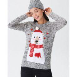 Sweter ze świąteczną aplikacją - Jasny szar. Szare swetry damskie House. Za 79.99 zł.