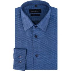 Koszula KDNS000297 SIMONE. Niebieskie koszule męskie Giacomo Conti, w geometryczne wzory, z materiału, z klasycznym kołnierzykiem. Za 149.00 zł.