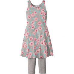 Sukienka + legginsy 3/4 (2 części) bonprix jasnoszary melanż z nadrukiem. Legginsy dla dziewczynek bonprix, melanż, bez rękawów. Za 49.99 zł.