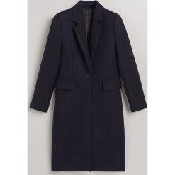 Wełniany płaszcz - Granatowy. Niebieskie płaszcze damskie Reserved, z wełny. Za 599.99 zł.