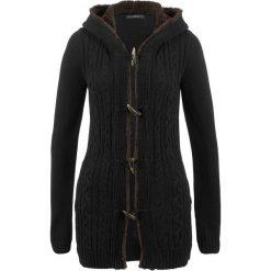 Sweter rozpinany z guzikami kołkami bonprix czarny. Czarne kardigany damskie bonprix. Za 149.99 zł.