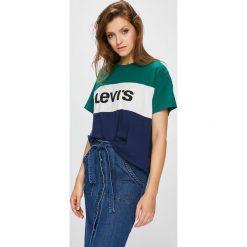 Levi's - Top. Brązowe topy damskie Levi's, z nadrukiem, z bawełny, z okrągłym kołnierzem, z krótkim rękawem. Za 119.90 zł.