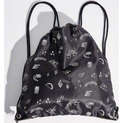 Plecak worek z nadrukiem - Czarny. Plecaki damskie marki QUECHUA. W wyprzedaży za 19.99 zł.