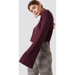 NA-KD Krótki sweter z dzianiny z długim rękawem - Purple. Fioletowe swetry damskie NA-KD, z dzianiny. Za 121.95 zł.