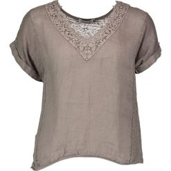 Lniana koszulka w kolorze szarobrązowym. T-shirty damskie William de Faye, w koronkowe wzory, z koronki, klasyczne, z krótkim rękawem. W wyprzedaży za 86.95 zł.
