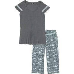 Piżama ze spodniami 3/4 bonprix pastelowy miętowy - dymny szary z nadrukiem. Piżamy damskie marki bonprix. Za 69.99 zł.