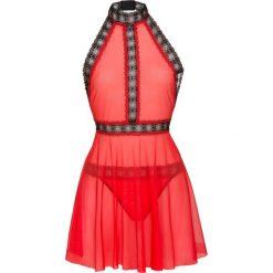 Koszulka nocna + stringi (2 części) bonprix czerwono-czarny. Czerwone koszule nocne damskie bonprix, z haftami, z koronki. Za 74.99 zł.