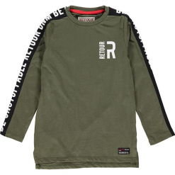 Koszulka w kolorze ciemnozielonym. Zielone t-shirty dla chłopców marki Retour denim de Luxe, z nadrukiem, z bawełny, z długim rękawem. W wyprzedaży za 82.95 zł.