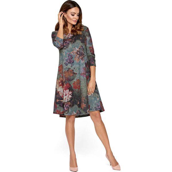 2e08b6286c Dzianinowa Luźna Sukienka w Kolorowe Kwiaty - Sukienki damskie marki ...