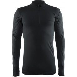 Craft Koszulka Męska  Active Comfort Zip Ls Czarna M. Czarne koszulki sportowe męskie Craft, ze skóry, z długim rękawem. W wyprzedaży za 135.00 zł.