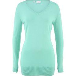 Długi sweter bonprix jasny miętowy. Zielone swetry damskie bonprix, z dzianiny. Za 59.99 zł.