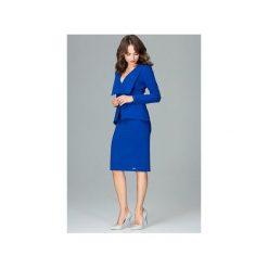 Sukienka K491zafir. Niebieskie sukienki damskie Lenitif, z wykładanym kołnierzem, z długim rękawem. Za 189.00 zł.