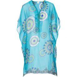 Sukienka plażowa bonprix turkusowy z nadrukiem. Niebieskie sukienki damskie bonprix, z nadrukiem, z materiału, z dekoltem w serek. Za 99.99 zł.