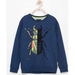 Bluza z melanżowej dzianiny - Granatowy. Bluzy dla chłopców Reserved, z dzianiny. W wyprzedaży za 24.99 zł.