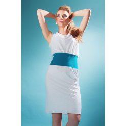 Sukienka wąska biała z turkusem. Białe sukienki damskie Hultaj Polski, na lato, z bawełny, biznesowe. Za 69.00 zł.