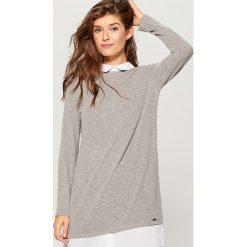 Sweter z koszulowymi wstawkami - Szary. Szare swetry damskie Mohito, z koszulowym kołnierzykiem. Za 99.99 zł.