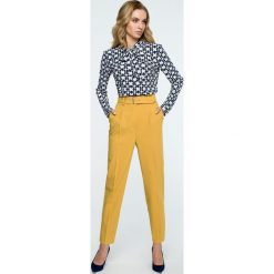 Spodnie z paskiem wysoki stan s124. Żółte spodnie materiałowe damskie Style, z haftami. Za 139.00 zł.