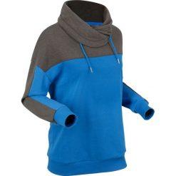Bluza dresowa, długi rękaw bonprix antracytowy melanż - lazurowy. Bluzy damskie marki KALENJI. Za 99.99 zł.