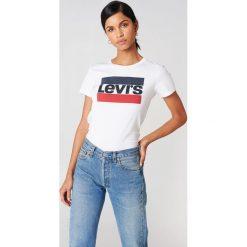 Levi's T-shirt The Perfect Sportswear - White. Białe t-shirty damskie Levi's, z nadrukiem, z bawełny, z okrągłym kołnierzem. Za 80.95 zł.