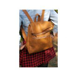 Plecak skórzany DONALD z metalowym zamkiem. Brązowe plecaki damskie Pracownia6-9, ze skóry. Za 260.00 zł.