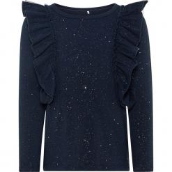 """Koszulka """"Shimmer"""" w kolorze granatowym. Niebieskie bluzki dla dziewczynek Name it Kids, z bawełny, z falbankami, z długim rękawem. W wyprzedaży za 42.95 zł."""