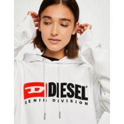 Diesel - Bluza. Szare bluzy damskie Diesel, z aplikacjami, z bawełny. W wyprzedaży za 599.90 zł.