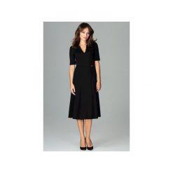 Sukienka K478 Czarny. Czarne sukienki damskie Lenitif, dekolt w kształcie v. Za 179.00 zł.