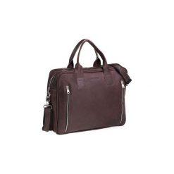 Ciemno brązowa męska torba na ramię brodrene bl02, Kolor wnętrza: Czarny. Brązowe torby na laptopa męskie Brødrene, w paski, ze skóry. Za 350.00 zł.
