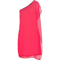 Sukienka na jedno ramię bonprix magenta. Fioletowe sukienki damskie bonprix, eleganckie. Za 89.99 zł.