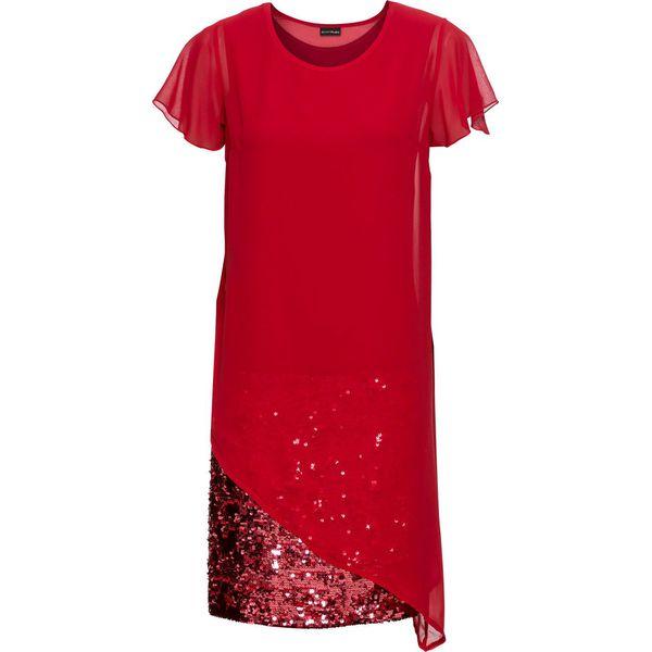 326c9b3043 Sukienka koktajlowa z dżerseju z cekinami bonprix czerwony chili ...