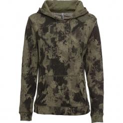 Bluza z kapturem i batikowym nadrukiem bonprix ciemnooliwkowy. Zielone bluzy damskie bonprix, z nadrukiem. Za 89.99 zł.
