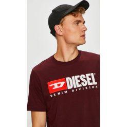 Diesel - T-shirt/polo T.JUST.DIVISION.0CATJ. Brązowe koszulki polo męskie Diesel, z aplikacjami, z dzianiny. Za 279.90 zł.