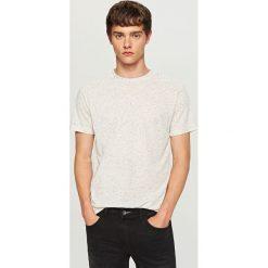 Melanżowy t-shirt - Kremowy. Białe t-shirty męskie Reserved. Za 29.99 zł.