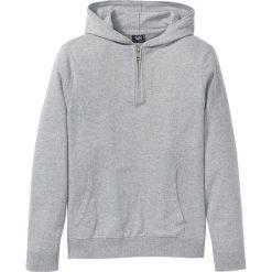 Sweter z kapturem z bawełny z recyclingu bonprix jasnoszary melanż. Swetry przez głowę męskie marki Giacomo Conti. Za 74.99 zł.